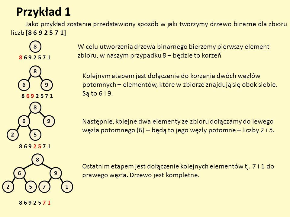 Przykład 1 Jako przykład zostanie przedstawiony sposób w jaki tworzymy drzewo binarne dla zbioru liczb [8 6 9 2 5 7 1]